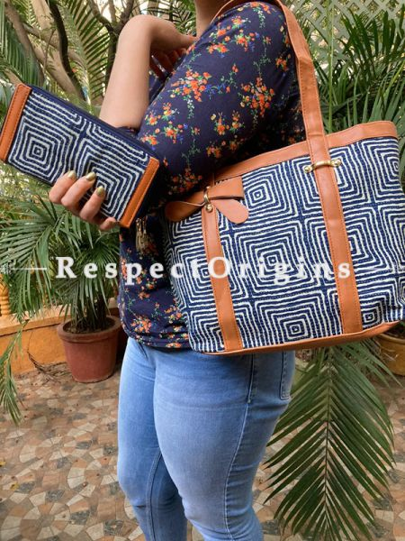 "Vibrant Dark Blue Hand block printed leatherette Ladies Bag with straps 20"" and Clutch 9 X 5 "" Inches; RespectOrigins.com"