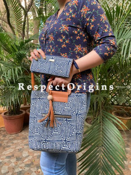 "Fabulous Blue Hand block printed leatherette Ladies Bag with Straps 30 "" Clutch 8 X 4 "" Inches; RespectOrigins.com"