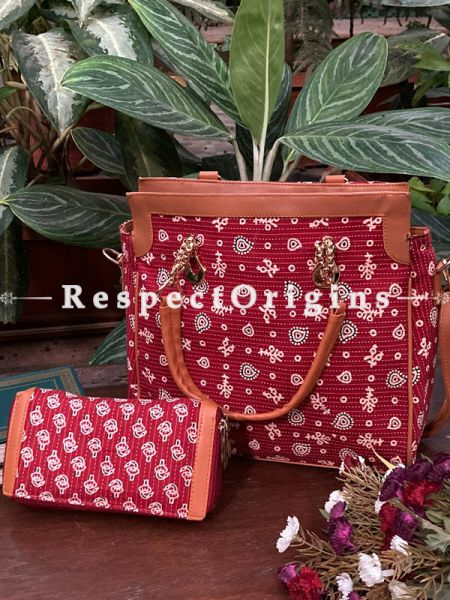 "Trendy Red Hand Block Printed leatherette Toe Bag with Handle and Clutch; 8 X 5"" Inches; RespectOrigins.com"