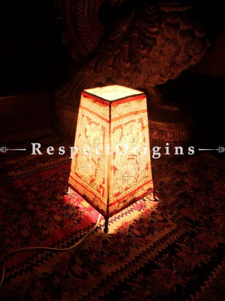 Buy Hand Painted Rectangle Leather Lampshade; 8 in; Floral Design At RespectOrigins.com