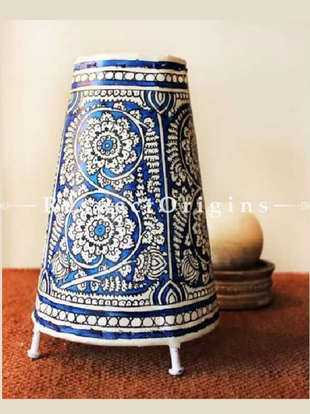 Buy inky blue & White Peacock; Leather Lampshade; 16 in At RespectOrigins.com