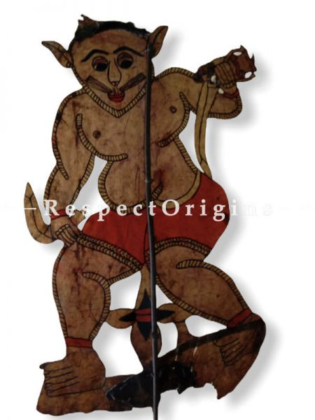Monkey Warrior Puppet in Leather Aboriginal Wall Art; Hand Painted Puppetry.; RespectOrigins.com
