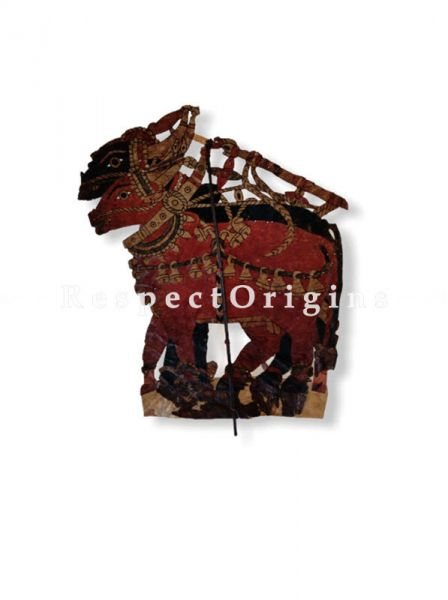 Oxen Pair Puppet in Leather Aboriginal Wall Art; Hand Painted Puppetry.; RespectOrigins.com