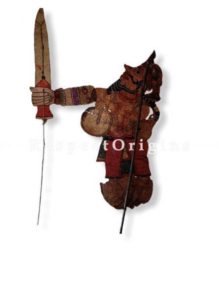 Tribal Warrior Puppet in Leather Aboriginal Wall Art; Hand Painted Puppetry.; RespectOrigins.com