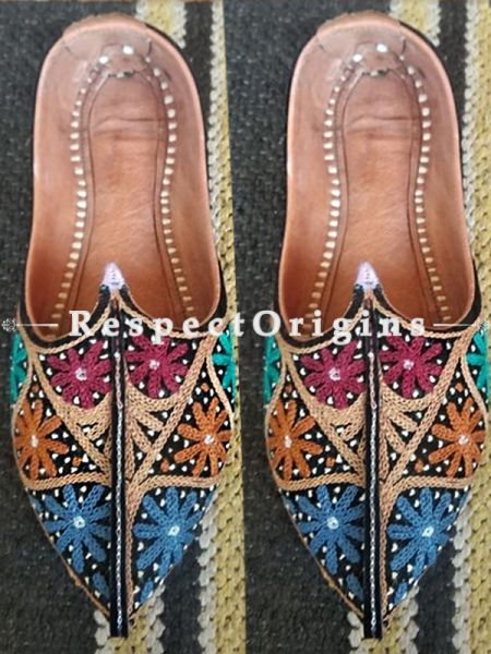Joyful Camel Leather Soft Ladies Multicolor Hand Embroidered Slip-on Jutti Mojari Shoes Size 36/37/38/39; RespectOrigins.com