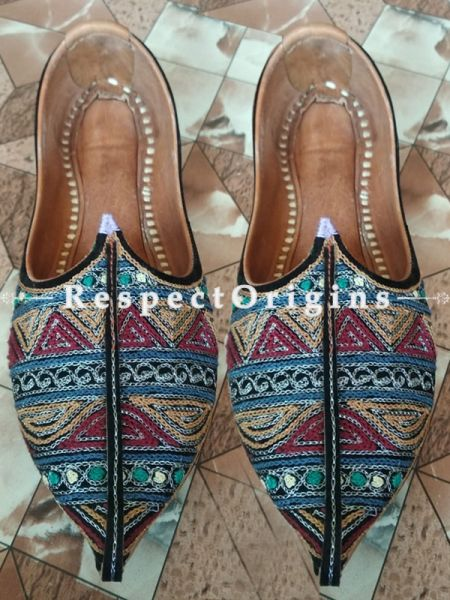 Ethnic Camel Leather Soft Ladies Multicolor Hand Embroidered Slip-on Jutti Mojari Shoes Size 36/37/38/39; RespectOrigins.com