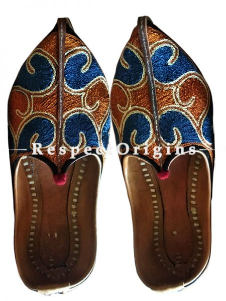 Joyful Camel Leather Soft Ladies Hand Embroidered Blue and Mustard Slip-on Jutti Mojari Shoes Size 36/37/38/39; RespectOrigins.com