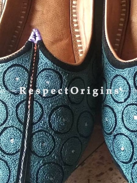 Leather Soft Ladies Hand Embroidered Slip-on Jutti Mojari Shoes Blue Size 36/37/38/39; RespectOrigins.com