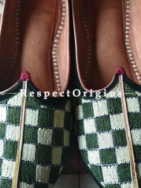 Ethnic Leather Soft Ladies Hand Embroidered Slip-on Green and White Jutti Mojari Shoes Size 36/37/38/39; RespectOrigins.com