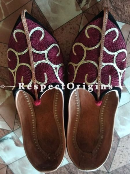 Leather Soft Ladies Hand Embroidered Slip-on Maroon and White Jutti Mojari Shoes Size 36/37/38/39; RespectOrigins.com