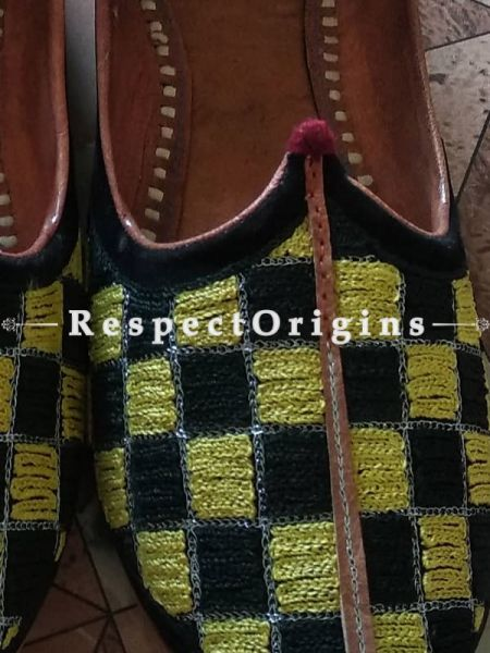 Ethnic Leather Soft Ladies Hand Embroidered Slip-on Black and Yellow Jutti Mojari Shoes Size 36/37/38/39; RespectOrigins.com