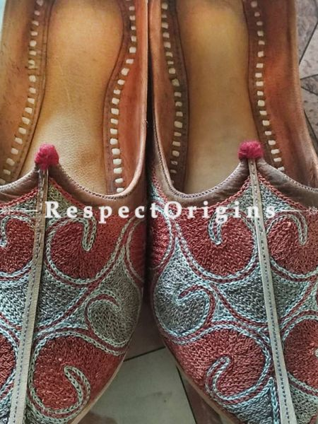 Joyful Camel Leather Soft Ladies Hand Embroidered Slip-on Gray and Maroon Jutti Mojari Shoes Size 36/37/38/39; RespectOrigins.com