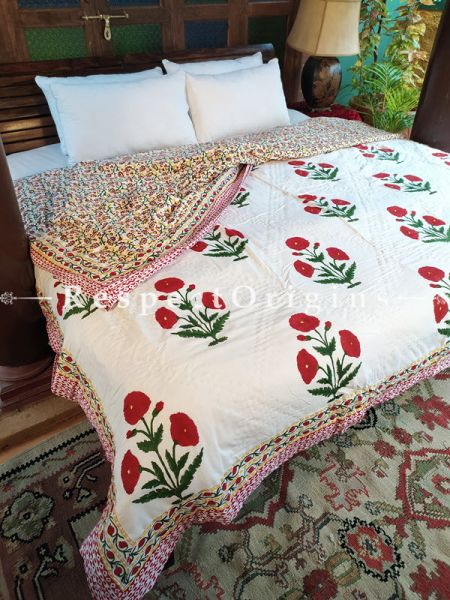 Leela Luxury Rich Cotton- filled Reversible King Comforter; Hand Block-printed; 105 x 87 Inches; RespectOrigins.com
