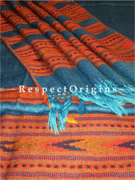 Buy Light Blue Hand woven Woolen Kullu Stoles From Himachal with multiple Orange borders; Size 80 x 27 inches at RespectOrigins.com