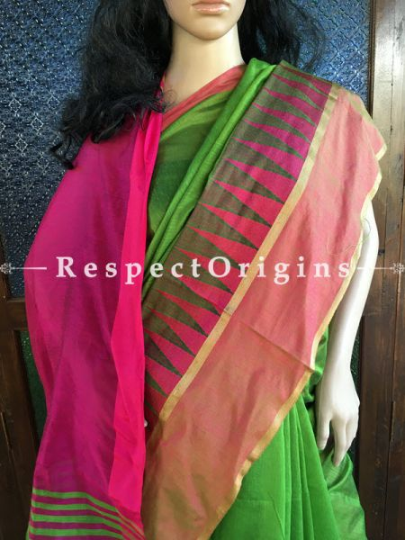 Light Green; Cotton Silk; Handloom Saree, RespectOrigins.com