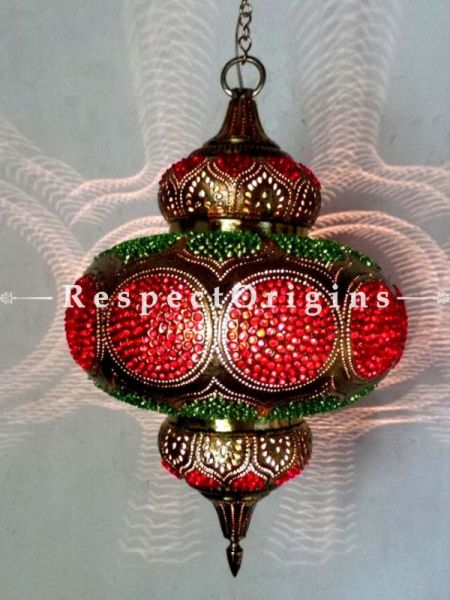 Buy Moroccan inspired Handcrafted Hanging Lamp in Copper and Red Glasswork. At RespectOrigins.com
