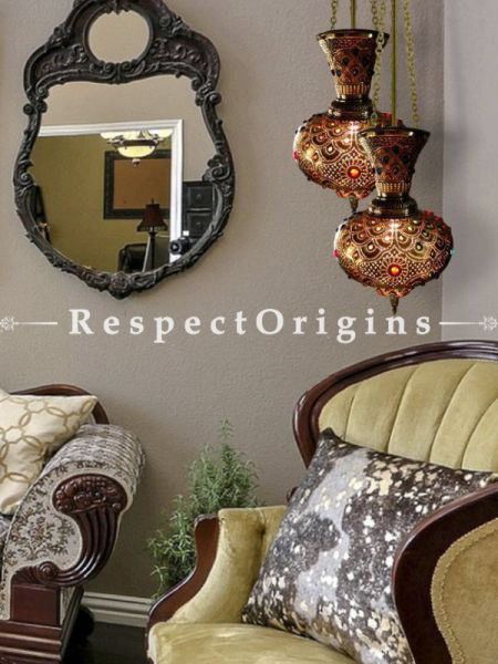 Buy Moroccan inspired Handcrafted Hanging Lamp in Copper and orange Glasswork. At RespectOrigins.com