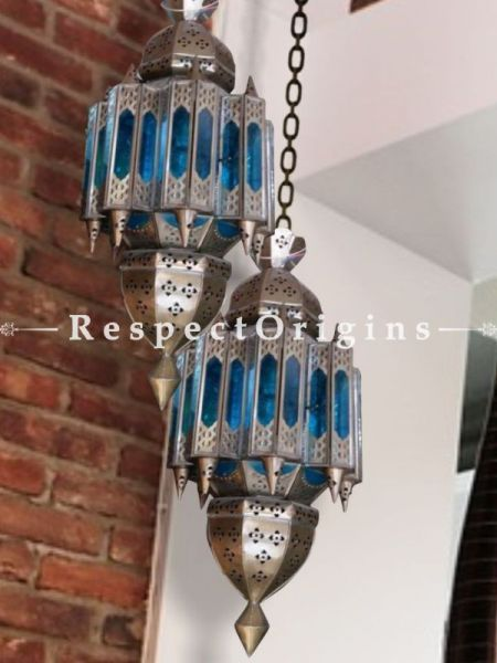 Buy A Pair of Royal Blue Ornate Ceiling Copper Hanging Pendant Lights At RespectOriigns.com