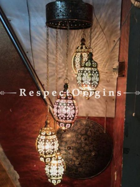 Buy Filigree-work Copper Chandelier Hanging Lamp Set of 5 At RespectOriigns.com