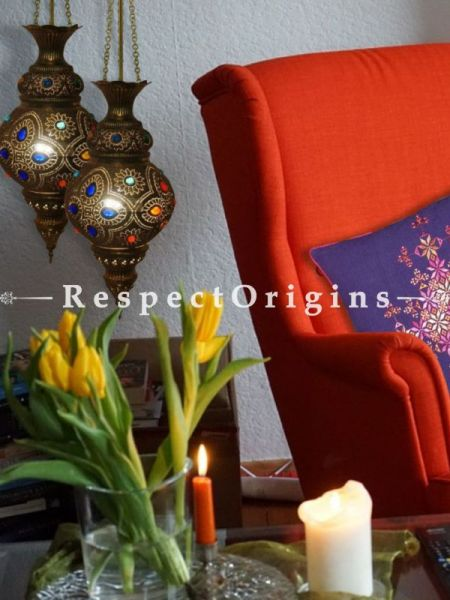 Buy Moroccon inspired Handcrafted Hanging Lamp in Beaded Copper Holder At RespectOriigns.com