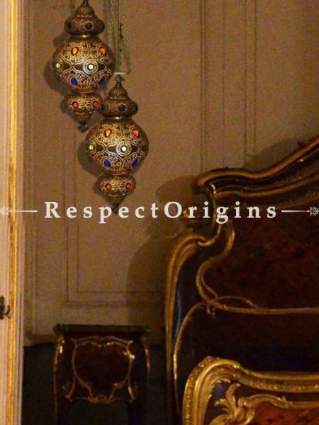 Buy Fabulous Hanging Lamps Pair with Filigree Cutwork in Copper with inlay Glass. At RespectOriigns.com