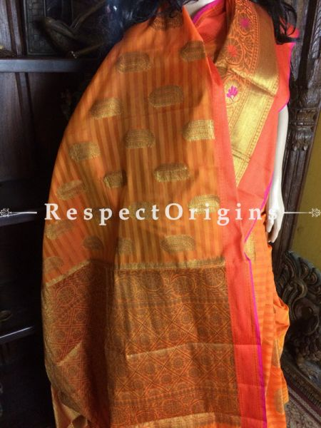 Orange Handwoven Banarasi Cotton Silk Saree; Zari Border & Butis; RespectOrigins.com