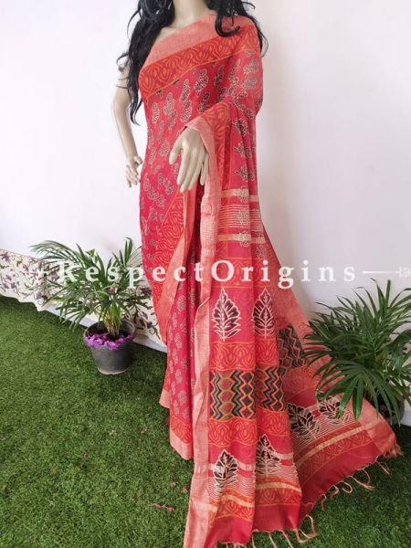 Linen Ghicha Silk Hand Block Printed Floral Saree in Pink with Running Blouse ; RespectOrigins.com