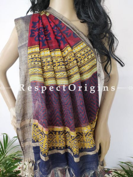 Blue Linen Ghicha Silk Hand Block Printed Floral Saree with Running Blouse; RespectOrigins.com