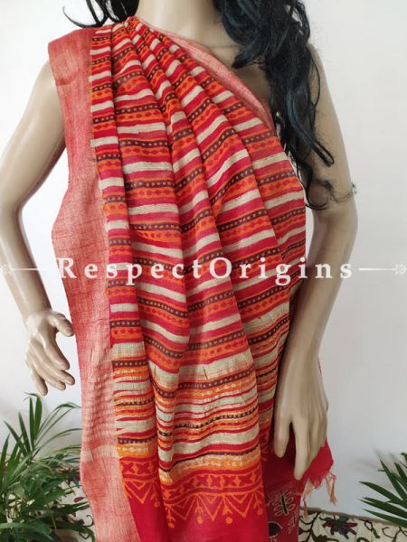 Red Linen Ghicha Silk Hand Block Printed Floral Saree with Running Blouse ; RespectOrigins.com