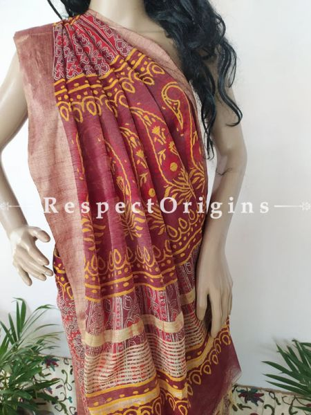 Linen Ghicha Silk Hand Block Printed Floral Saree in Pink with Mustard Border & Running Blouse ; RespectOrigins.com