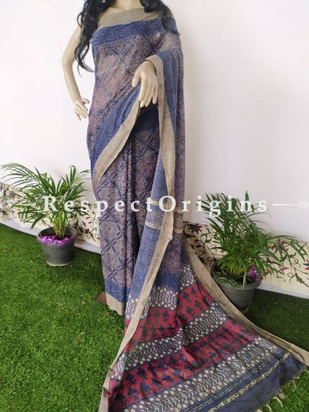 Linen Ghicha Silk Hand Block Printed Floral Saree in Blue with Running Blouse ; RespectOrigins.com
