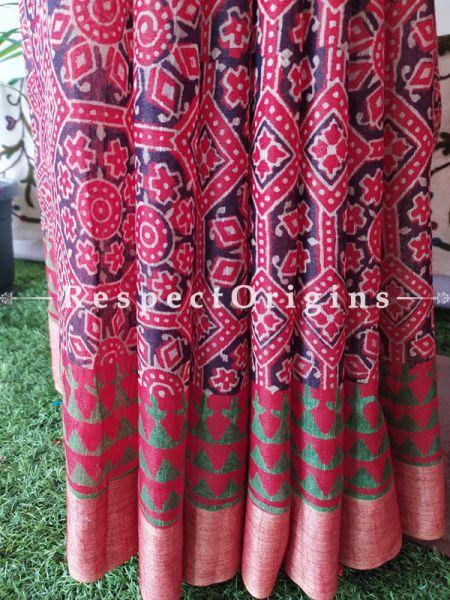 Pink & Green Linen Ghicha Silk Hand Block Printed Floral Saree with Running Blouse; RespectOrigins.com