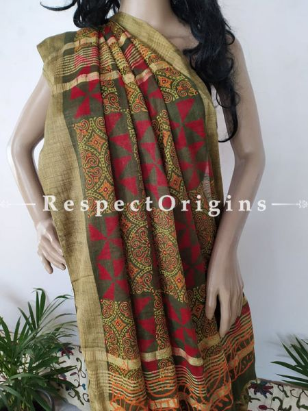 Green and Light Brown Linen Ghicha Silk Hand Block Printed Floral Saree with Running Blouse ; RespectOrigins.com