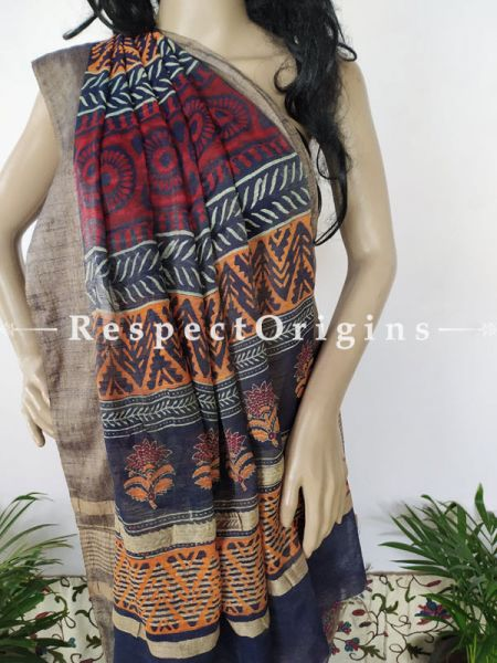 Linen Ghicha Silk Hand Block Printed Floral Saree in Violet with Running Blouse ; RespectOrigins.com