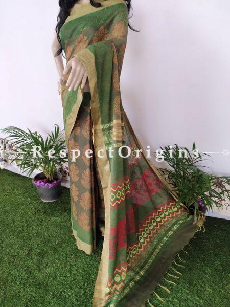 Green Linen Ghicha Silk Hand Block Printed Floral Saree with Running Blouse ; RespectOrigins.com