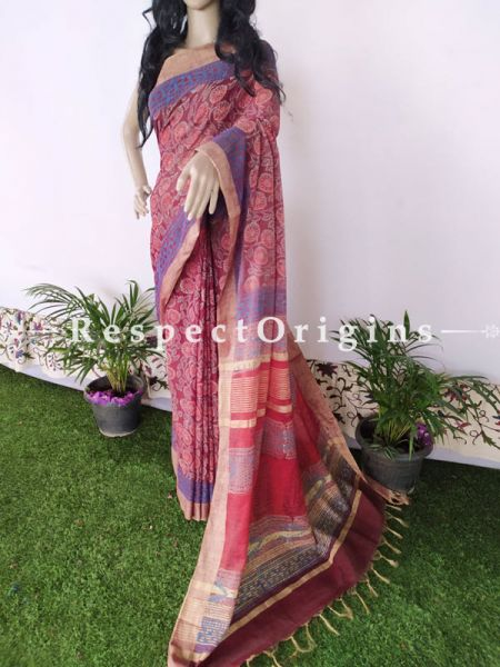 Linen Ghicha Silk Hand Block Printed Floral Saree in Pink & Blue with Running Blouse ; RespectOrigins.com