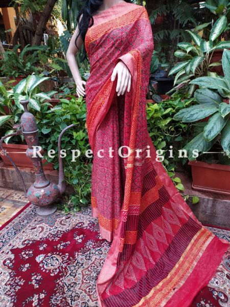 Linen Ghicha Silk Hand Block Printed Floral Saree in Magenta with Running Blouse ; RespectOrigins.com