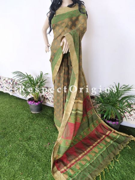 Linen Ghicha Silk Hand Block Printed Floral Saree in Green with Running Blouse ; RespectOrigins.com