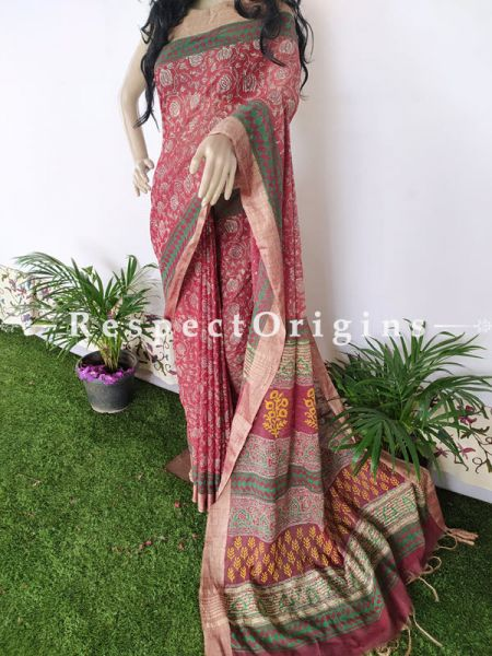 Linen Ghicha Silk Hand Block Printed Floral Saree in Red & Green with Running Blouse ; RespectOrigins.com