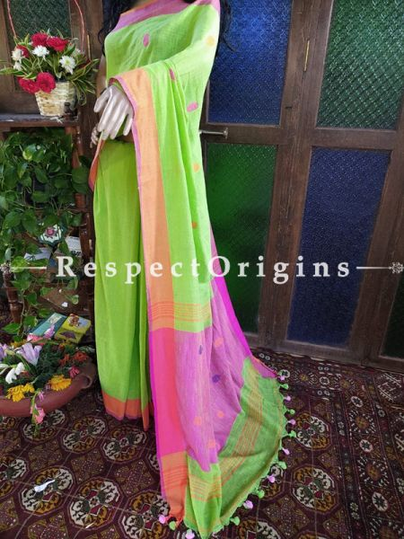 Handloom Green Linen Saree with Orange and Pink Border; Blouse Included; RespectOrigins.com