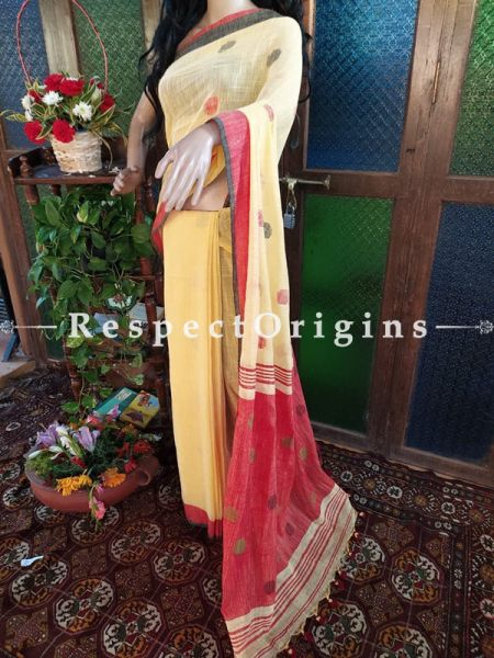 Elegant Handloom Yellow Linen Saree with Red and Black Border; Blouse Included; RespectOrigins.com