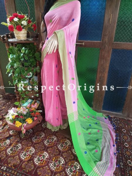 Stunning Handloom Pink Linen Saree with Green Border; Blouse Included; RespectOrigins.com