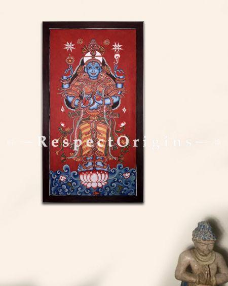 Lord Dhanwantari -Kerala Mural Art God of Medicine- Painting 44x23 Vertical Canvas Painting