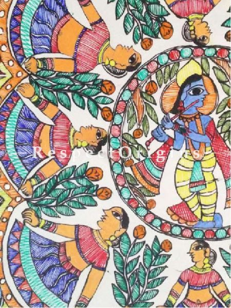 Traditional Mithila Painting Lord Krishna Playing Flute With Gopis Painting - 12In x 16In Acrylic On Paper.