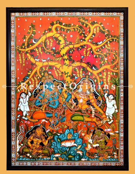 Lord Radha Krishna; Kerala Mural Art; Canvas Vertical Painting