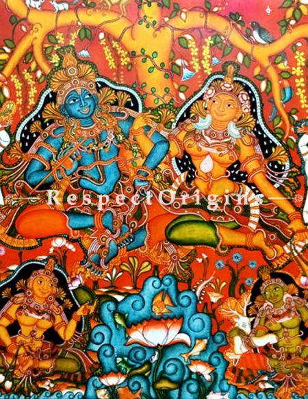 Buy Lord Radha Krishna- Kerala Mural Art- 84 X 60 inches Canvas Painting|RespectOrigins