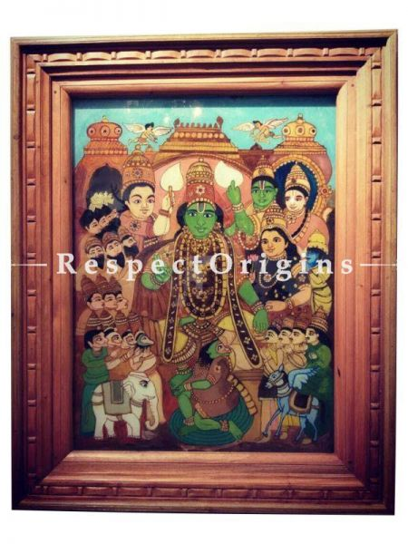 Buy Lord Vishnu Painted on Glass in Tanjavur Temple Painting Art At RespectOrigins.com