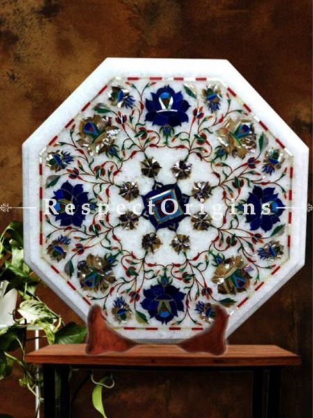 Buy Magnificent White Octagon Marble inlay or Pietra Dura Marble Cocktail or Occasional Table Top At RespectOrigins.com