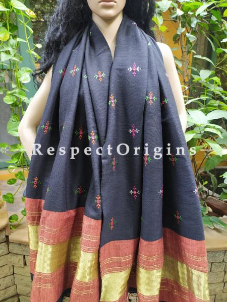 Luxurious Handloom Fine Soof Embroidered Woollen Black Shawl With Brown and Gold Border Online at RespectOrigins.com
