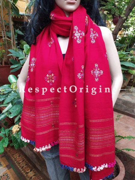 Luxurious Handloom Fine Soof Embroidered Woollen Red Shawl  Online at RespectOrigins.com